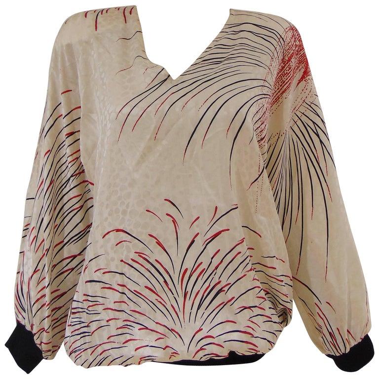 1980s Valentino cream multi tone silk shirt - blouse