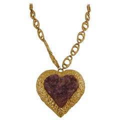 Kenneth Jay Lane gold tone purple heart pendant necklace