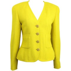 Vintage A/W 1994 Chanel Yellow Wool Jacket
