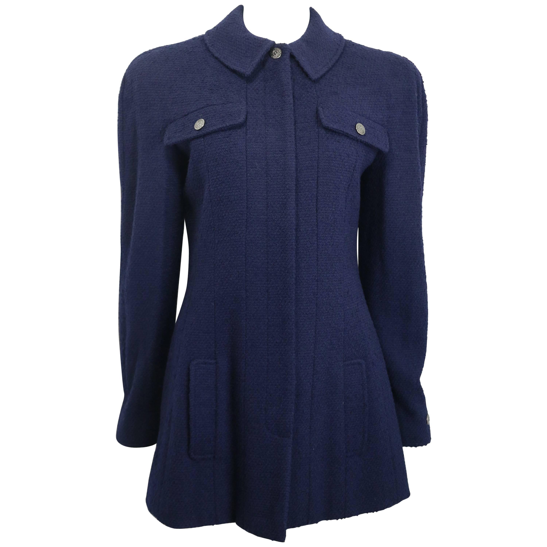 Unworn Vintage Fall 1998 Chanel Dark Navy Boucle Wool Jacket