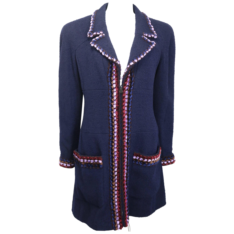 Fall 97 Chanel Navy Paris Chenille Pom Bouclé Wool Piping Trim Tweed Coat