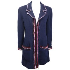 Chanel Navy Paris Chenille Pom Bouclé Wool Piping Trim Tweed Coat