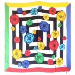 Vintage Chanel black white geometric, red, yellow, blue and green camellia scarf