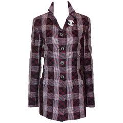 Chanel Métiers d'Art Checked Tweed and Tulle Mesh Blazer Jacket Coat