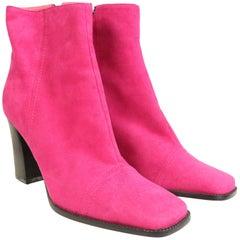 Unworn 90s Byblos Pink Suede Ankle Boots