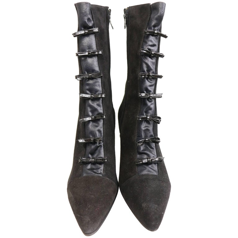 Charles Jourdan Black Suede with Patent Leather Bow Pointy Boots