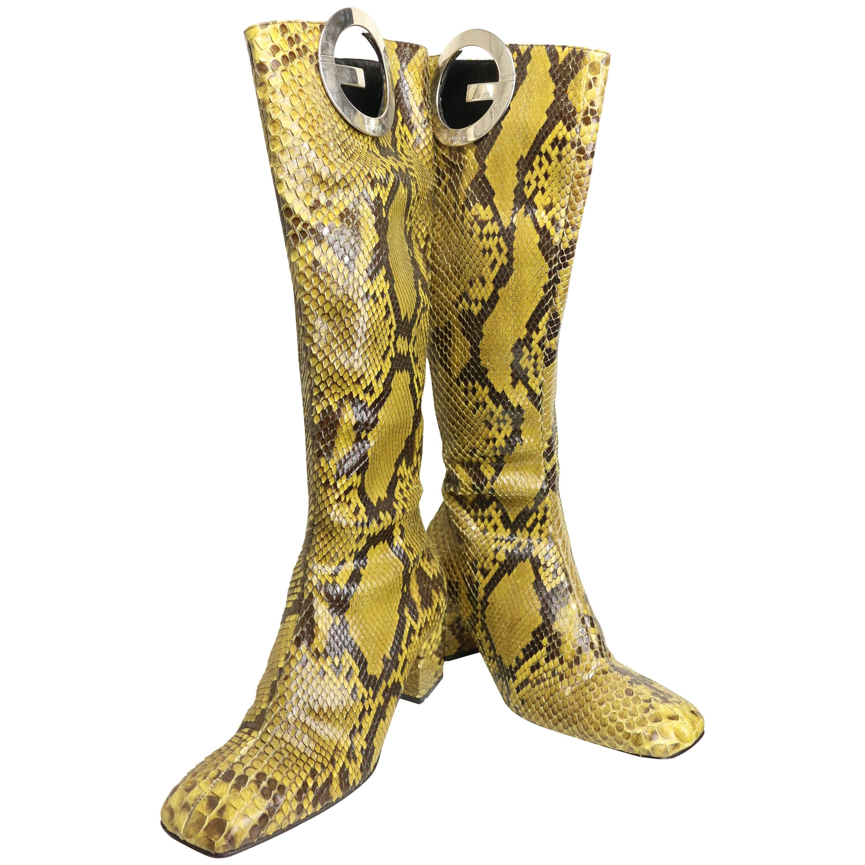"""Spring 1996 Gucci by Tom Ford Yellow """"GG"""" Python Snakeskin Slip on Long Boots"""
