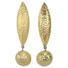 Vintage Givenchy Hammered Gold Tone Earrings