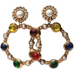 1980s Chanel drop clip-on hoop earrings