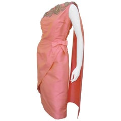 1950's Dupioni Silk One-Shoulder Goddess Dress With Drape