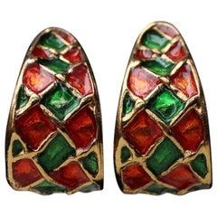 1980s Yves Saint Laurent orange and green half hoop earring