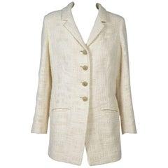 CHANEL Long Ivory Tweed 'Paris Bombay' Jacket Size 38EU