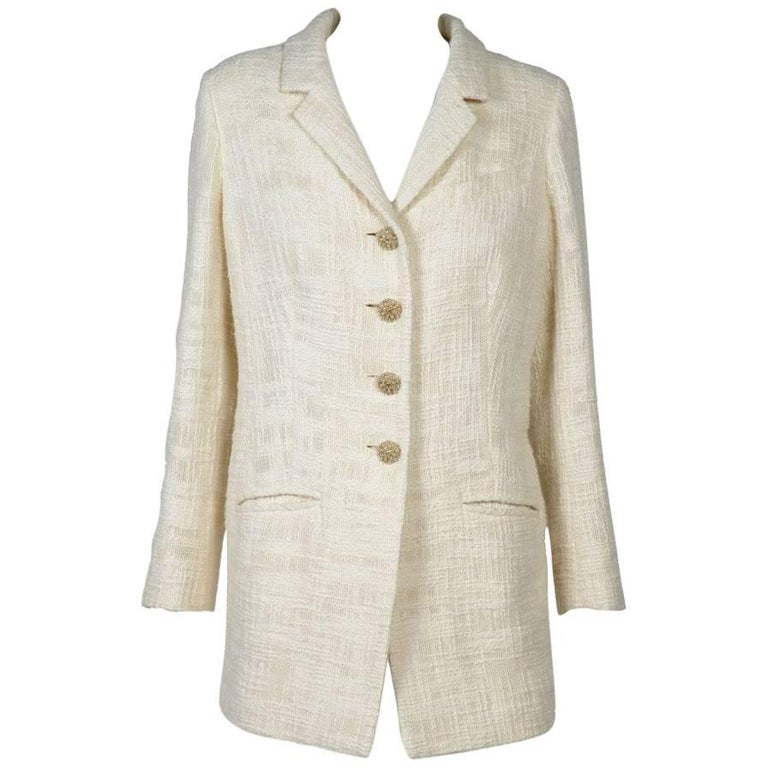 CHANEL Long Ivory Tweed 'Paris Bombay' Jacket Size 38EU