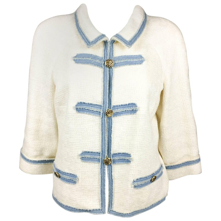 2007 Chanel White Boucle Denim Trimmed Jacket With Logo Buttons