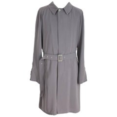 Giorgio Armani vintage trench coat gray pearl classico 56 1980s overcoat suit
