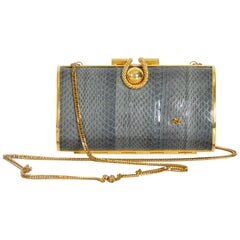 Nina Ricci Vintage 1970s Gold And Grey Snake Skin Clutch Minaudiere
