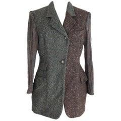 Dolce Gabbana wool silk green brown tweed jacket women's size 42 it 2000s