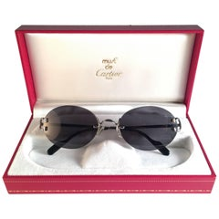 New Vintage Cartier Scala 52mm Platine Rimless Grey Lens Case France Sunglasses