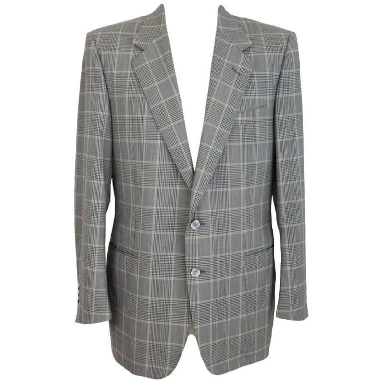 Lanvin Paris vintage pure wool check black gray classic jacket size 50 it 1970s  For Sale
