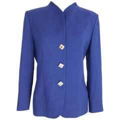 Pier Cardin wool electric blue blazer jacket jewelery buttons size 48 it made it