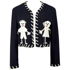 "Moschino 1980s ""Girl & Boy"" Pictogram Appliquéd Black Wool Cropped Bolero Jacket"