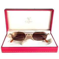 New Vintage Cartier Orfy Gold Plated Solid Brown Lens France 1990 Sunglasses