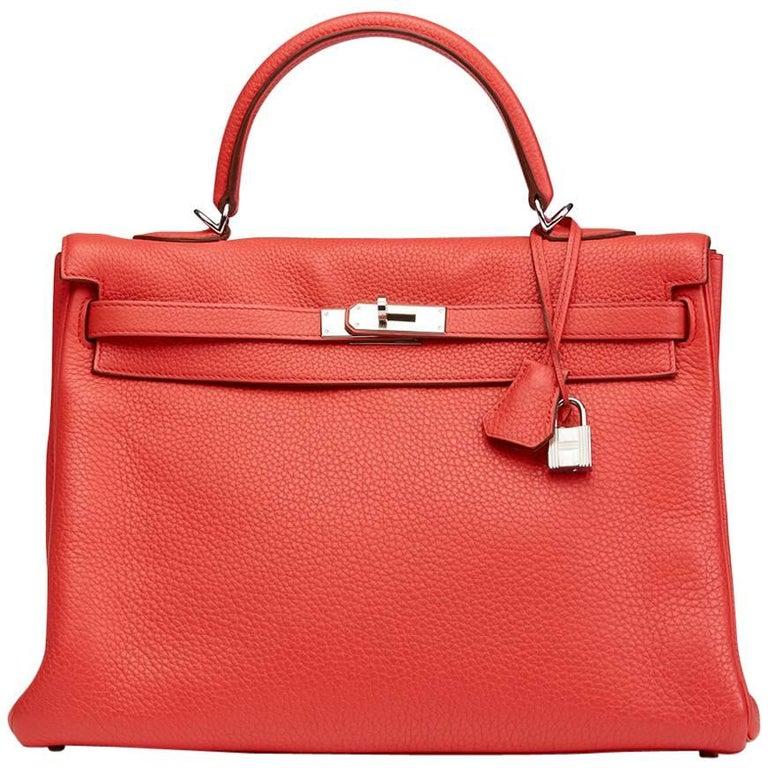 2010 Hermes Bougainvillier Togo Leather Kelly 35cm Retourne For Sale