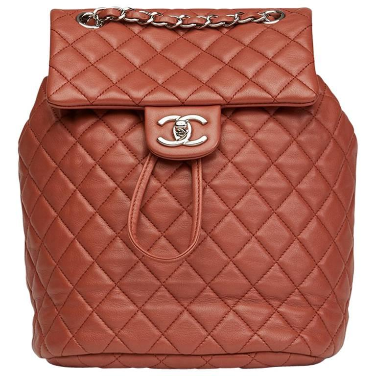 a714121a3f79 2016 Chanel Brick Brown Quilted Lambskin Small Urban Spirit Backpack For  Sale