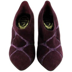 RENE CAOVILLA Low Boots in Purple Suede and Rhinestones Size 36EU