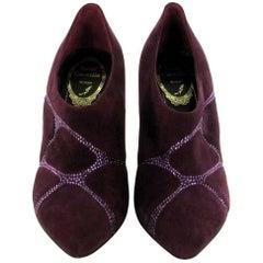RENE CAOVILLA Low Boots in Purple Suede and Rhinestones Size 36EU