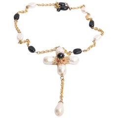 MARGUERITE DE VALOIS Couture Necklace in Bicolor Molten Glass and Gilded Metal