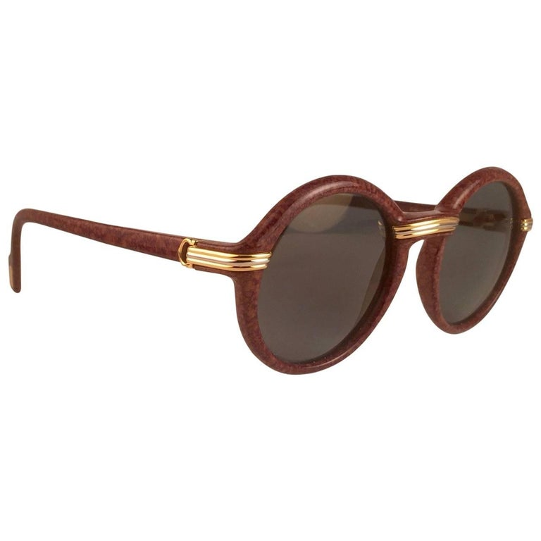 New Cartier Cabriolet Round Brown 52MM 18K Gold Sunglasses France 1990's
