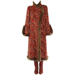 Oscar De La Renta Sable Trim Embellished Cashmere Coat With Matching Boots