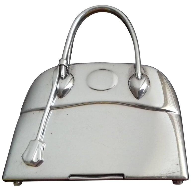 HERMES Mini Bolide Bag Pill Box Pill Container Silver 925 RARE