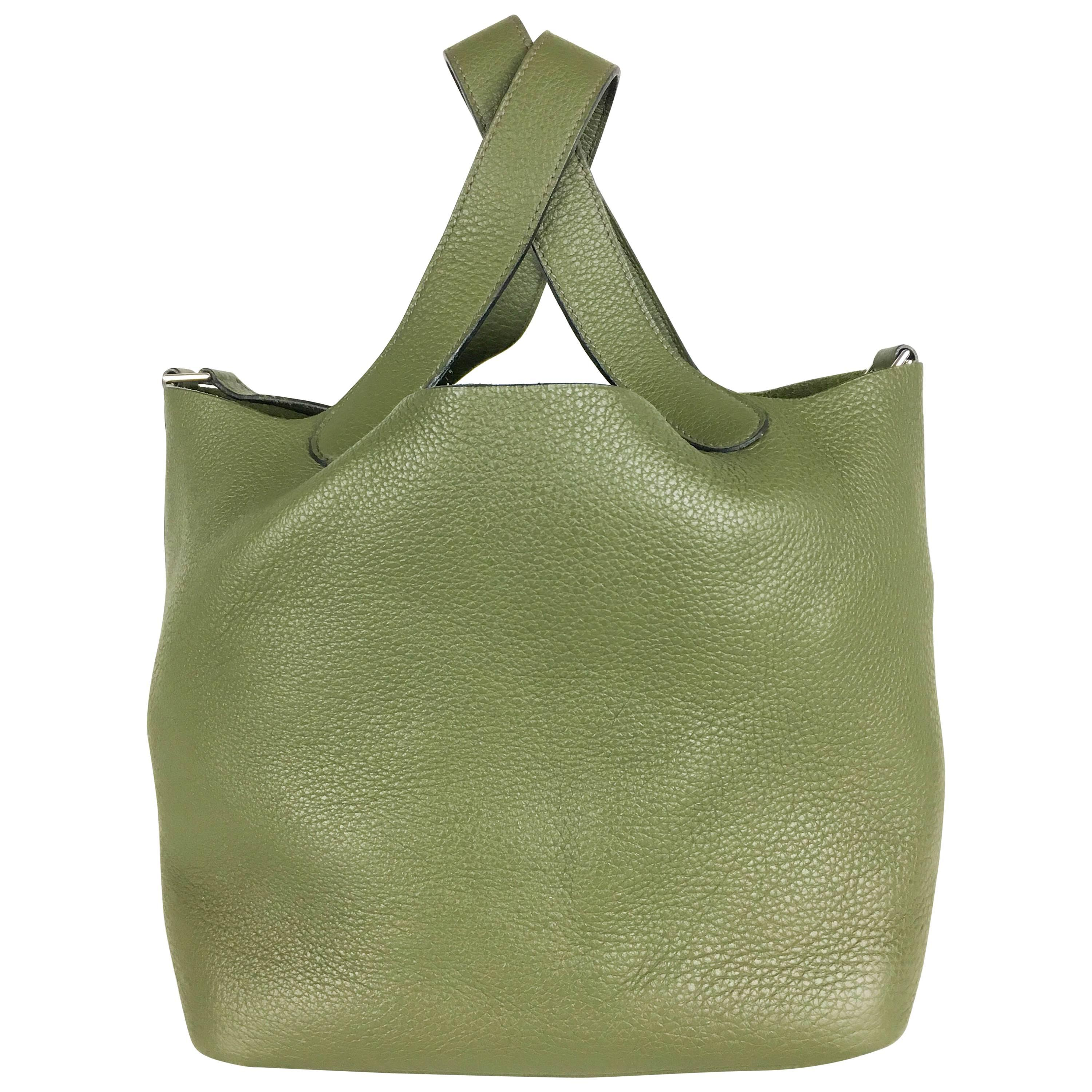 aa3b0aa7c06f4 ... inexpensive 2007 hermes picotin 22 handbag in olive green clemence  leather for sale dc0d4 fb6aa
