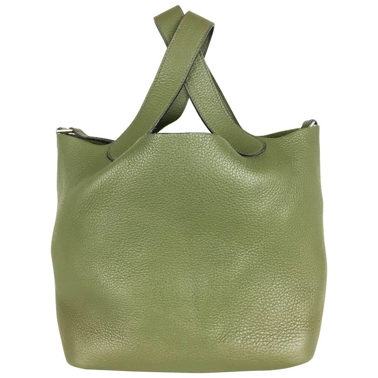 2007 Hermes Picotin 22 Handbag in Olive Green Clemence Leather For Sale
