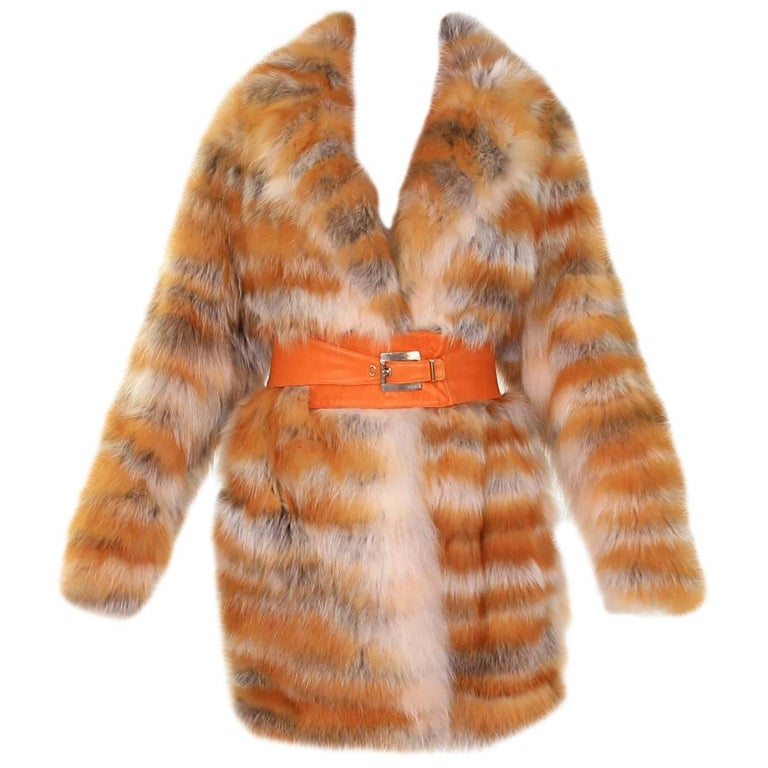 Vintage Gianni Versace Couture Red fox fur Coat with leather belt