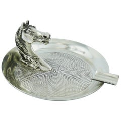 Hermes Vintage Silver Plated Horse Head Equestrian Ashtray