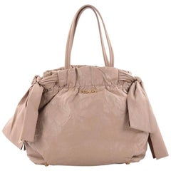 Prada Convertible Bow Tie Shoulder Bag Leather Medium