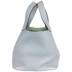 2014 Hermes Picotin 22 Handbag in Pale Blue Clemence Leather