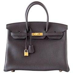 Hermes Birkin 35 Bag Sleek Black Togo Gold Hardware