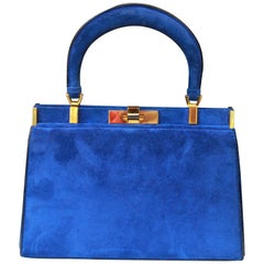 1960s, Fernande Desgranges trapezoid handbag in electric blue suede