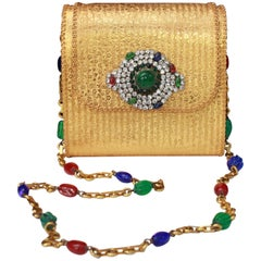 Gorgeous evening bag in gilded metal and glass paste and rhinestones details