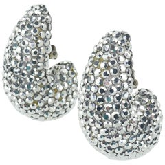 1980's Richard Kerr Nautilus Shaped Silver Pave Crystal Earrings