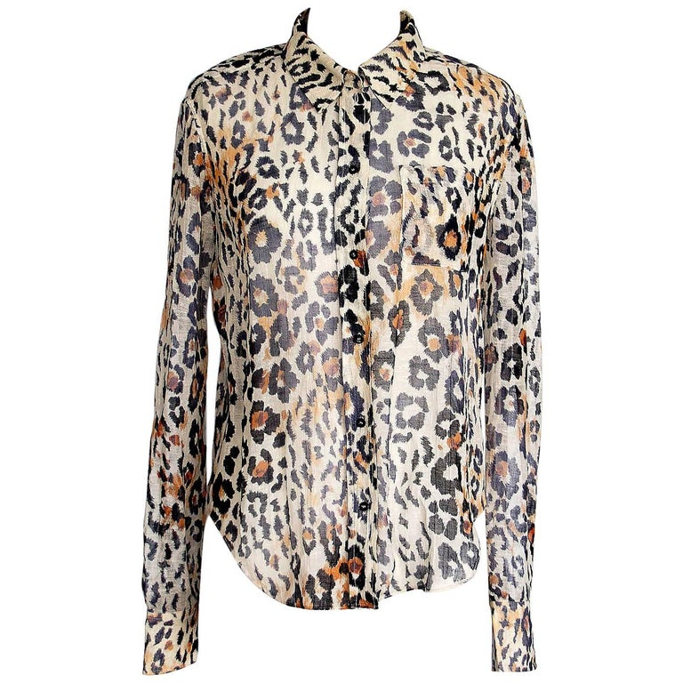 Chloe Top Leopard Print Linen Cotton  38 / 4
