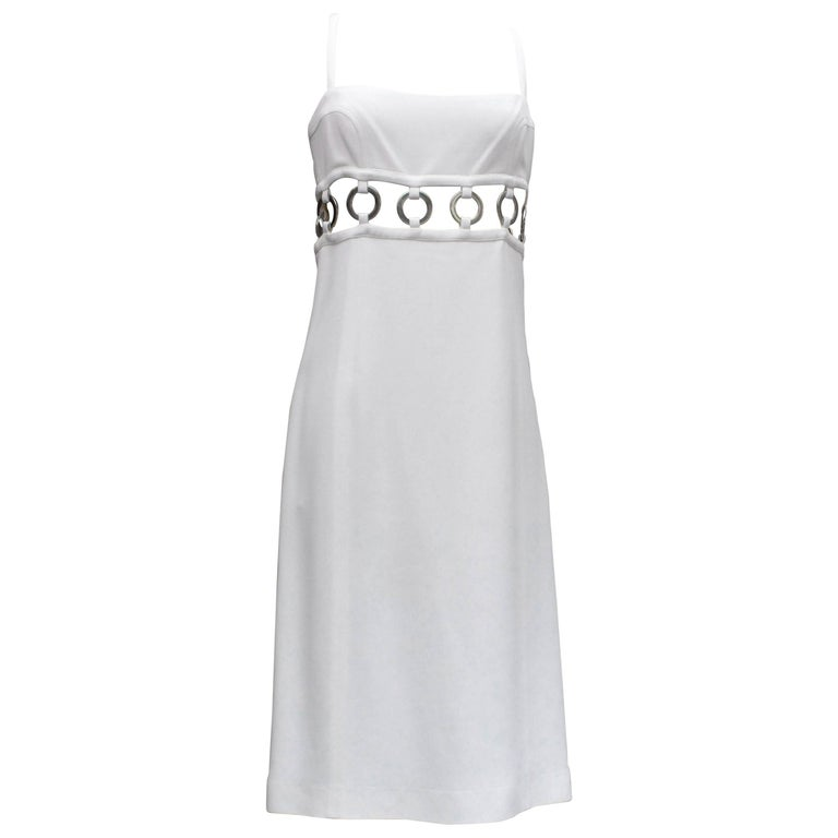 Paco Rabanne perforated white dress, 2010s