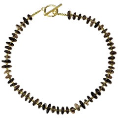 Gemjunky Smoky Quartz Necklace with goldy accents