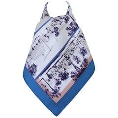 HERMES Silk Scarf A l ombre des boulevards Virginie Jamin Blue White 90 cm