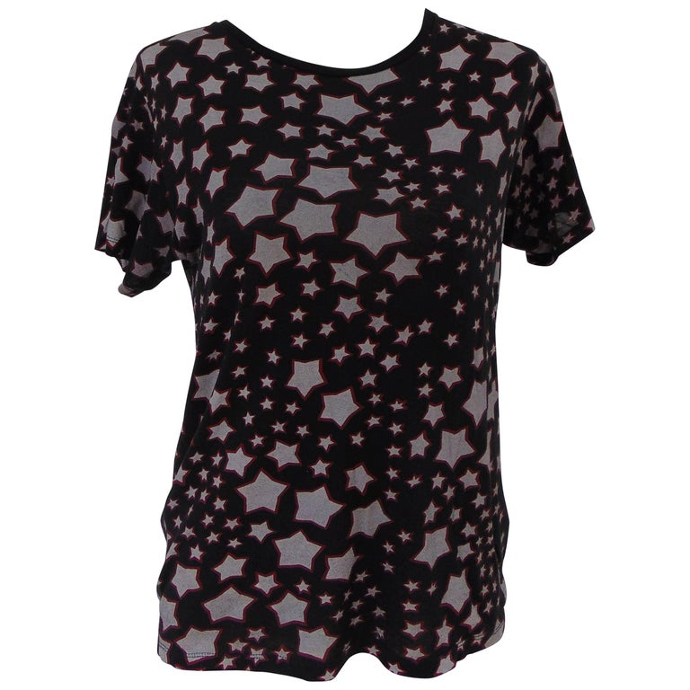 Yves saint laurent cotton black stars t shirt for sale at for Yves saint laurent white t shirt
