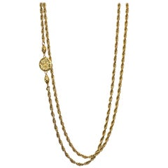 Chanel Vintage Goldtone Chainlink XL CC Necklace